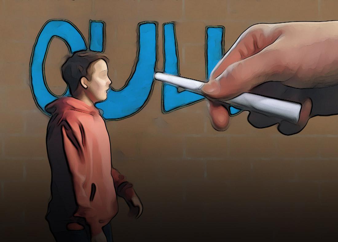Animaatio: poika hupparissa, taustalla tiiliseinä johon suuri käsi on kirjoittamassa tekstiä Oulu.